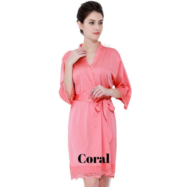 Coral satin with lace robe