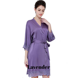 Lavender satin with lace robe