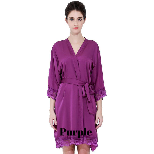 Purple satin with lace robe