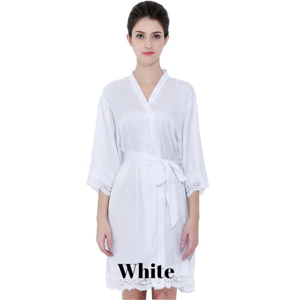 White satin with lace robe