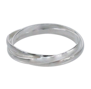 Sterling silver triple band roller ring