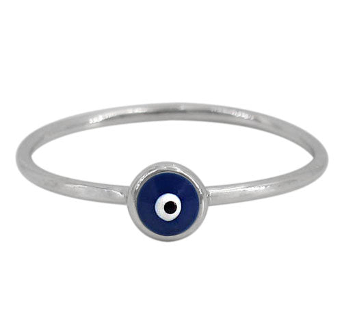 Sterling silver evil eye stacking ring (dark blue)