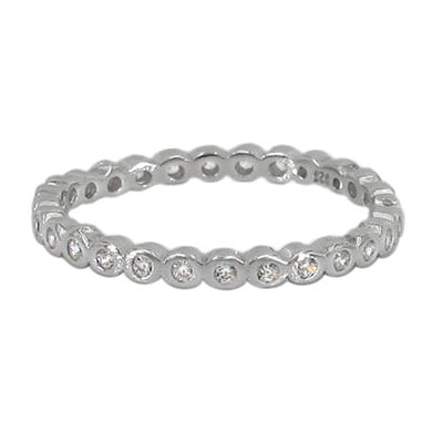 Delicate sterling silver and cubic zirconia band