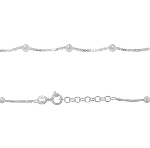 Sterling silver ball and box chain anklet