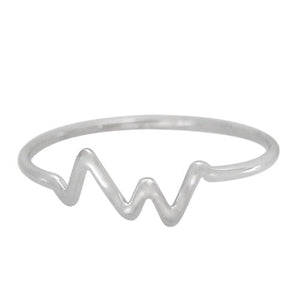 Sterling silver heartbeat stacking ring