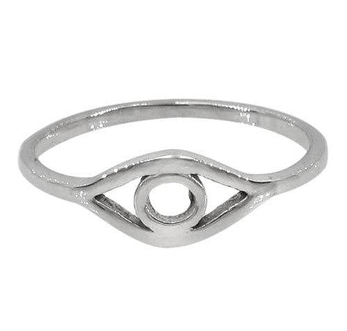 Simple sterling silver evil eye stacking ring