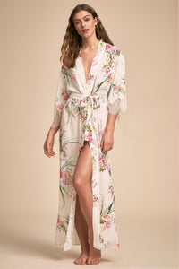 Blush floral and lace full length robe
