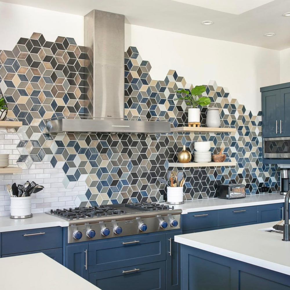 Dynamic Blue & Grey Diamond Backsplash