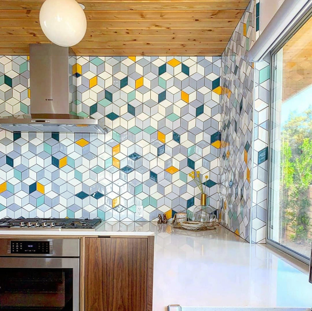 The Eichler Palms Diamond Tile Kitchen
