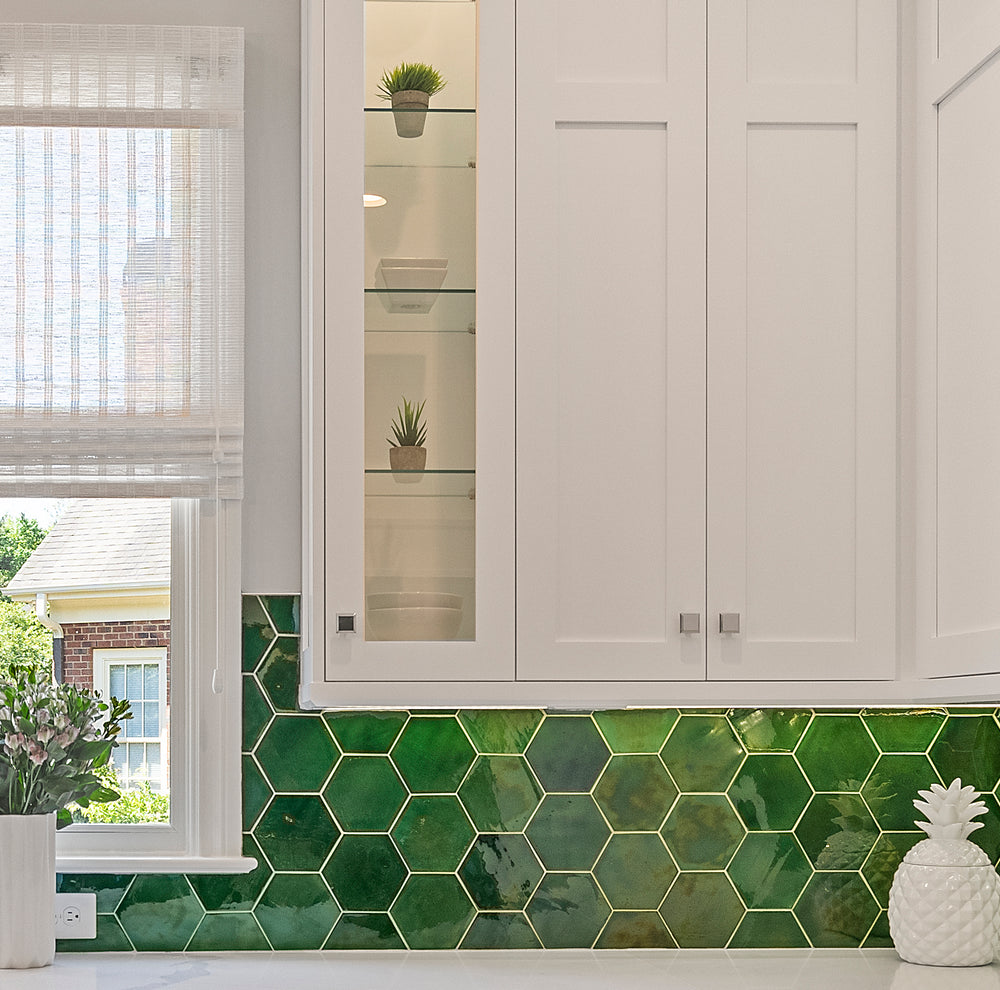 Luminous Forest Green Kitchen Tile