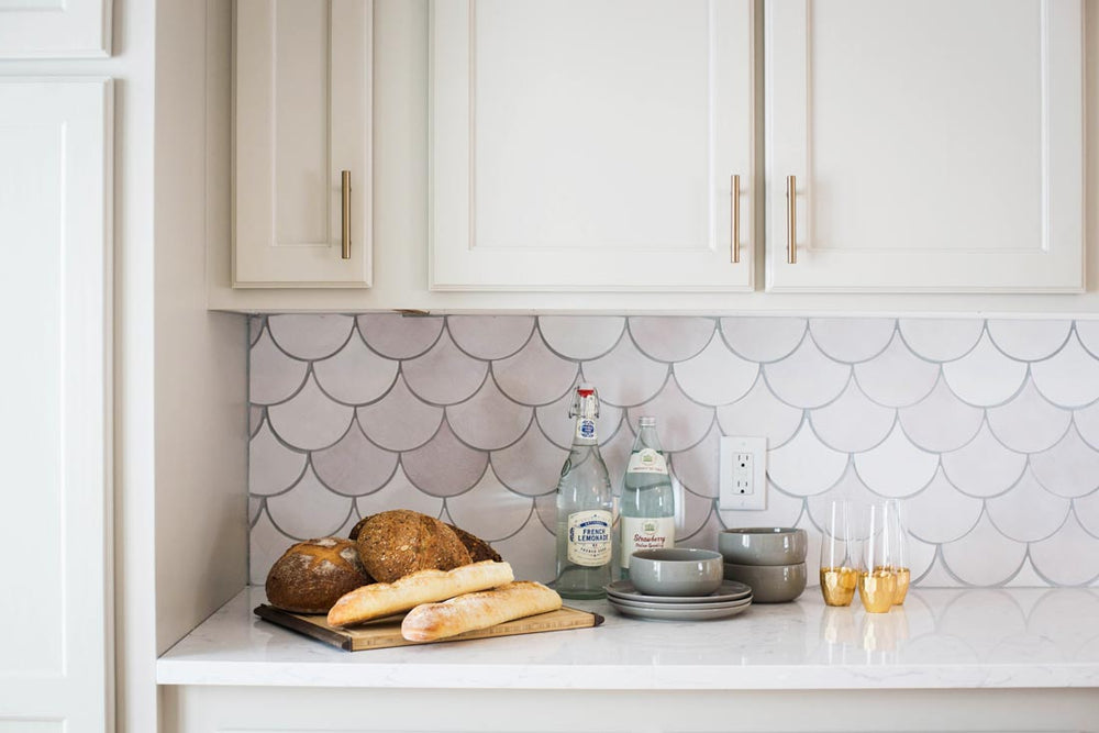Dazzling White Fish Scale Backsplash