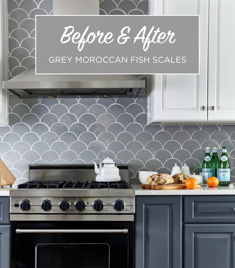 Before Amp After Grey Moroccan Fish Scale Backsplash