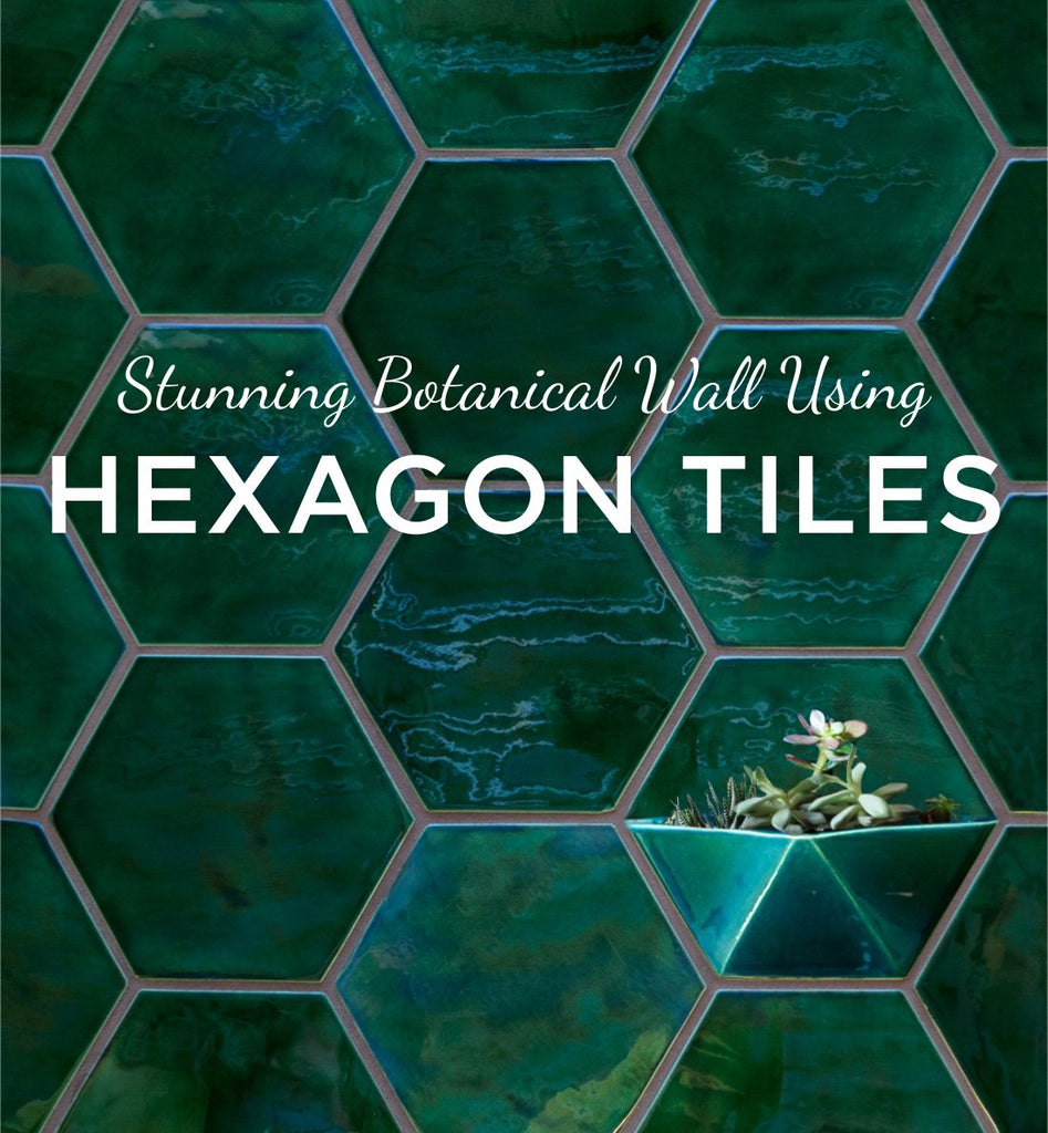 Stunning Botanical Wall Using Hexagon Tiles Mercury Mosaics