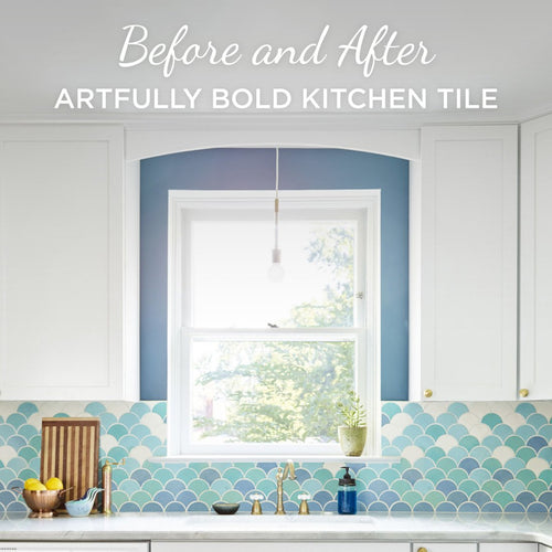 Before and After: Artfully Bold Kitchen Tile on Homepolish