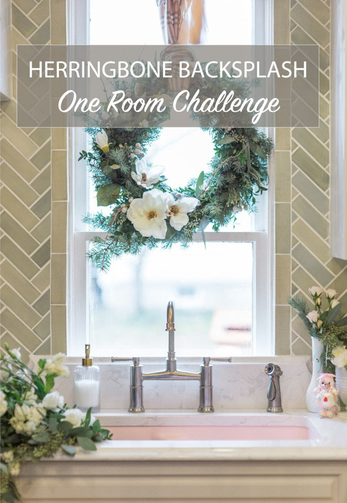 Herringbone Backsplash - One Room Challenge by Leslie Style