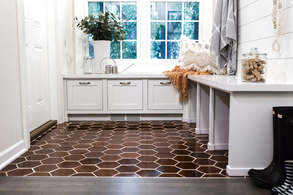 Cottage Entryway - Espresso Hexagon Floor Tiles