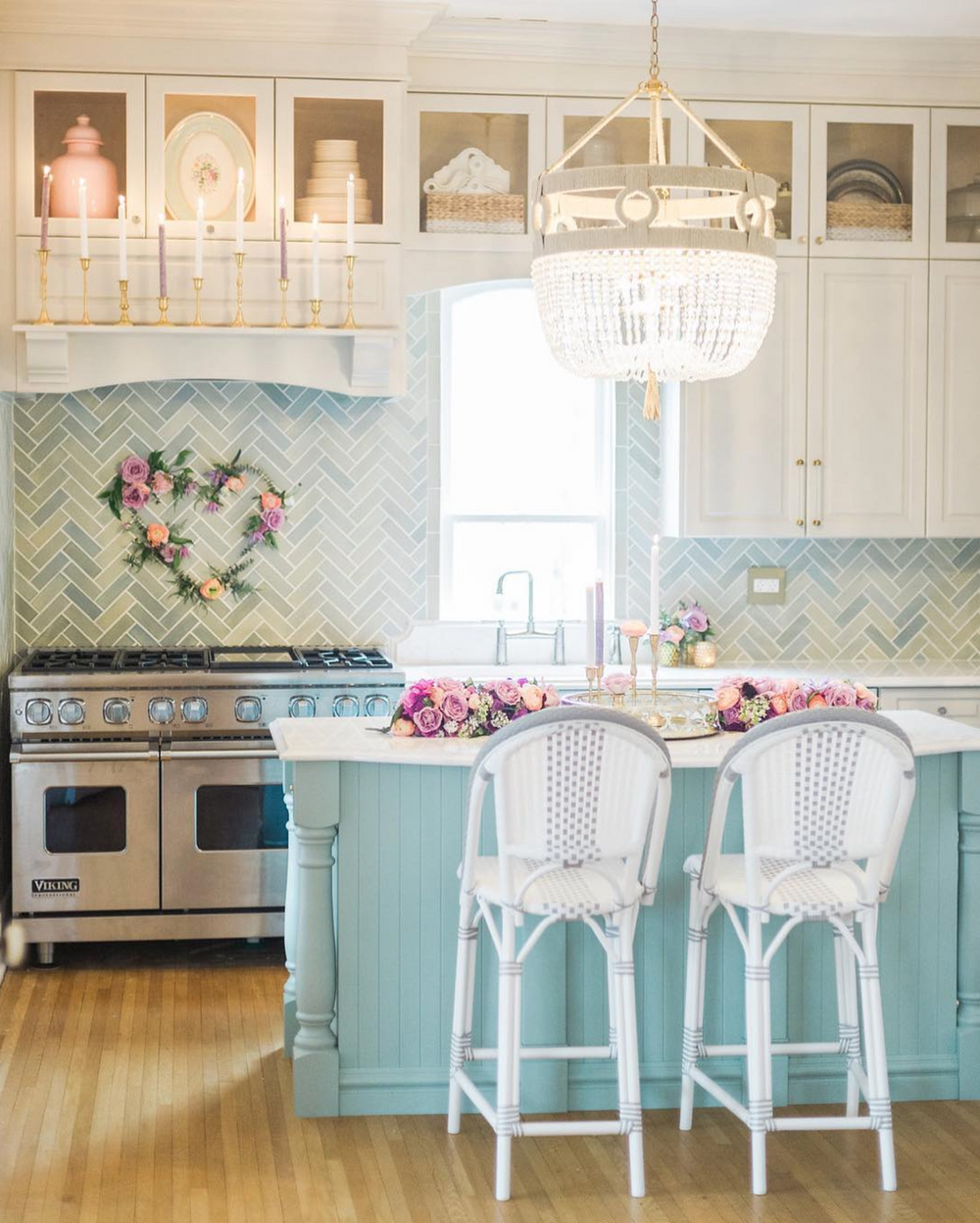 Blue Opal Herringbone Kitchen Backsplash