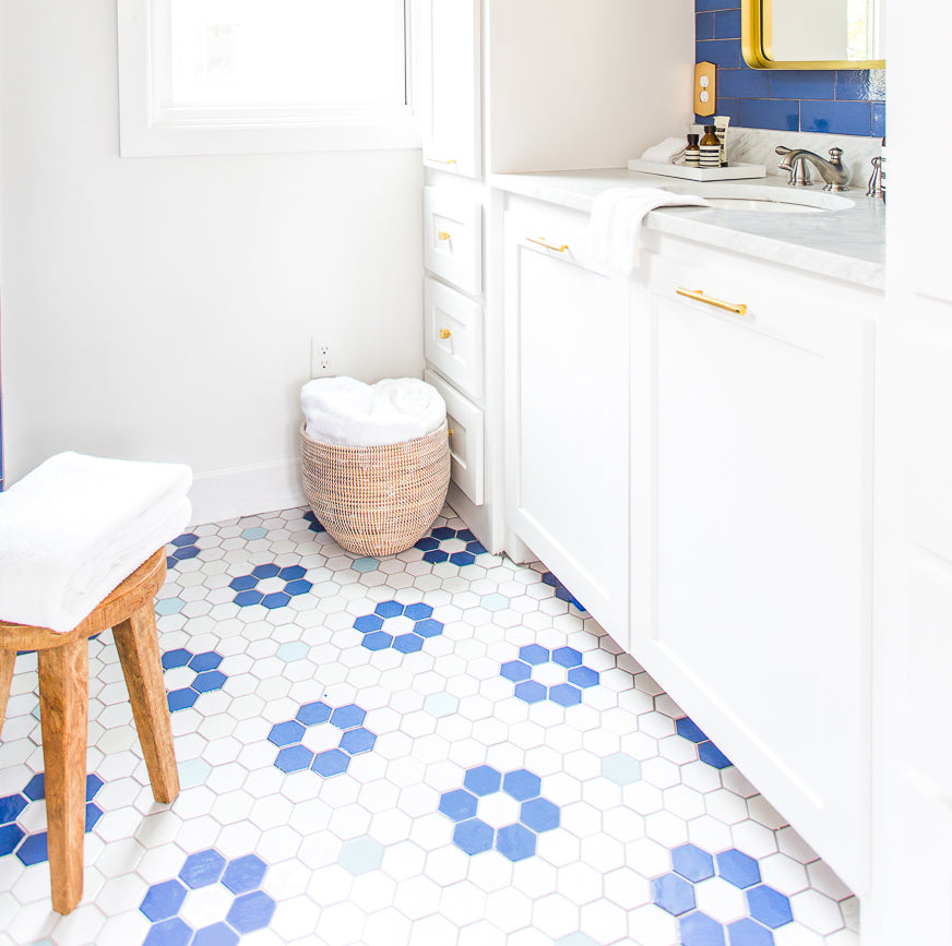 Blue and White Flower Pattern Floor Tile