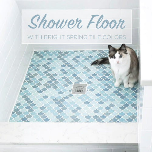 Shower Floor with Bright Spring Tile Colors