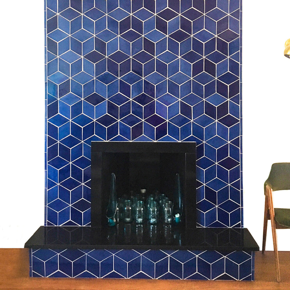 The Bold and Blue Contemporary Fireplace