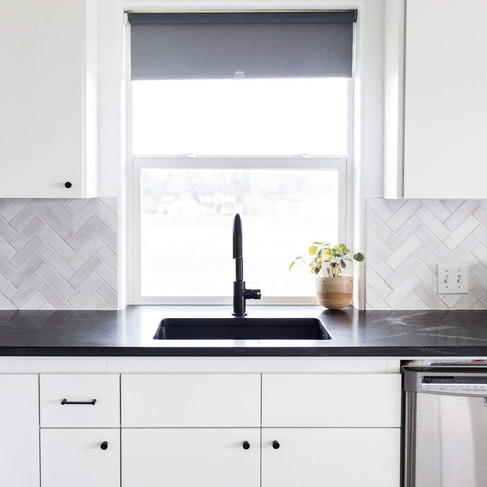 White Herringbone Kitchen Backsplash