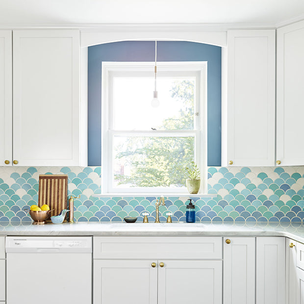 Light Blue Ombre Fish Scale Kitchen