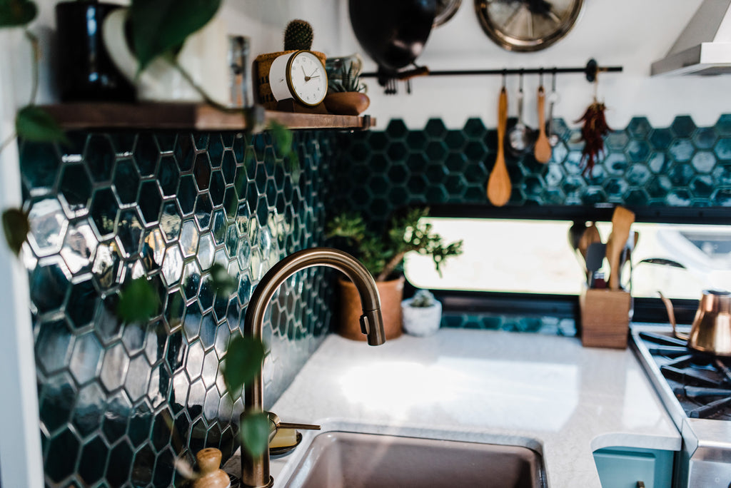 boho green kitchen tile