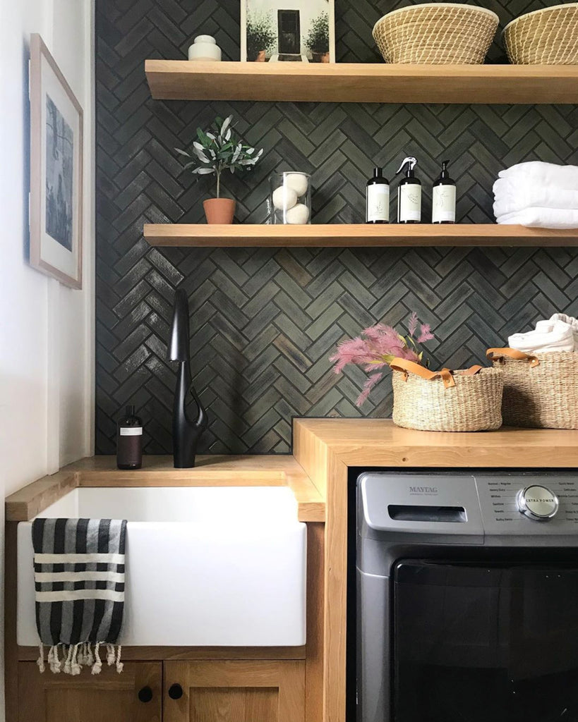 dark forest green herringbone tile