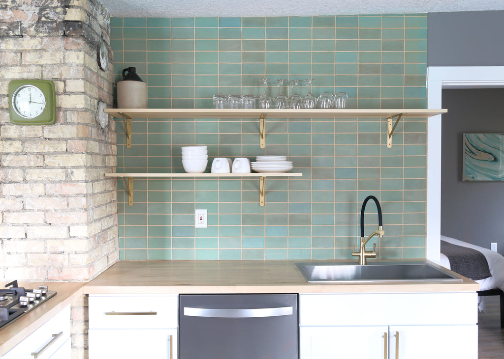 light seafoam green kitchen tile