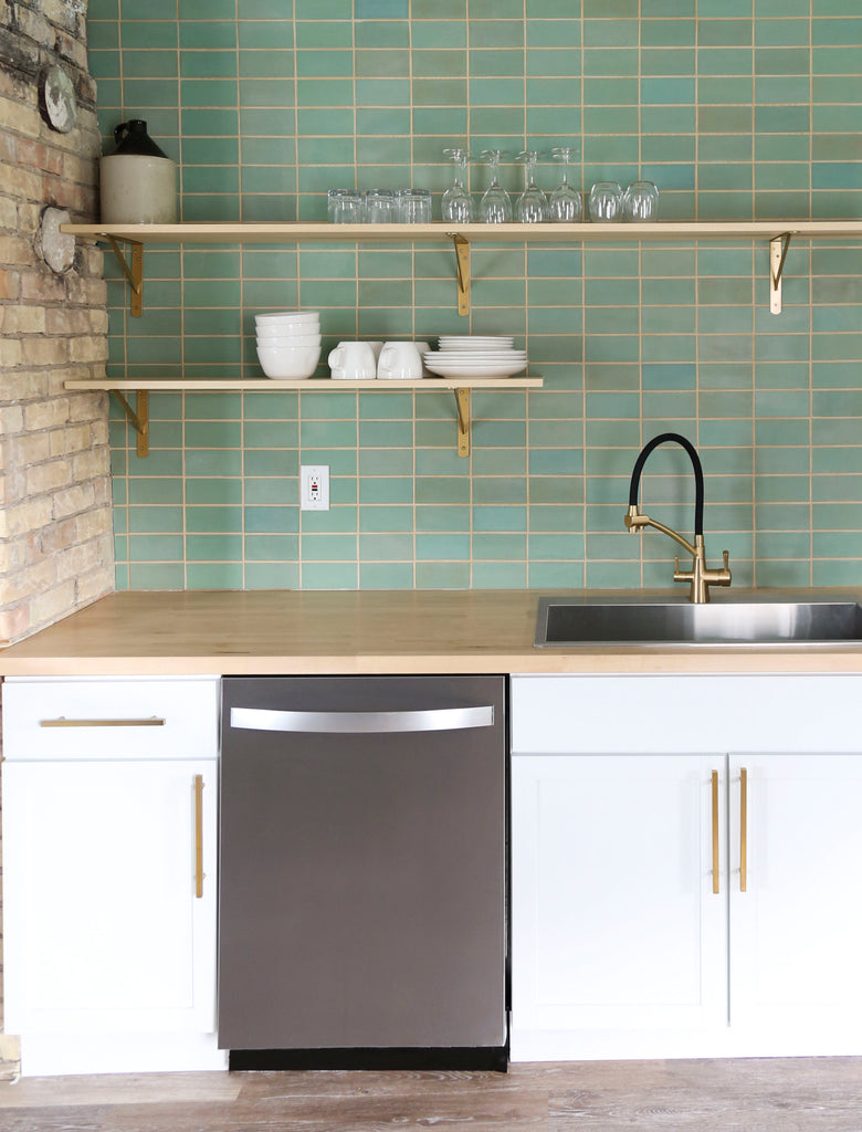 Old Copper Subway Tile Backsplash