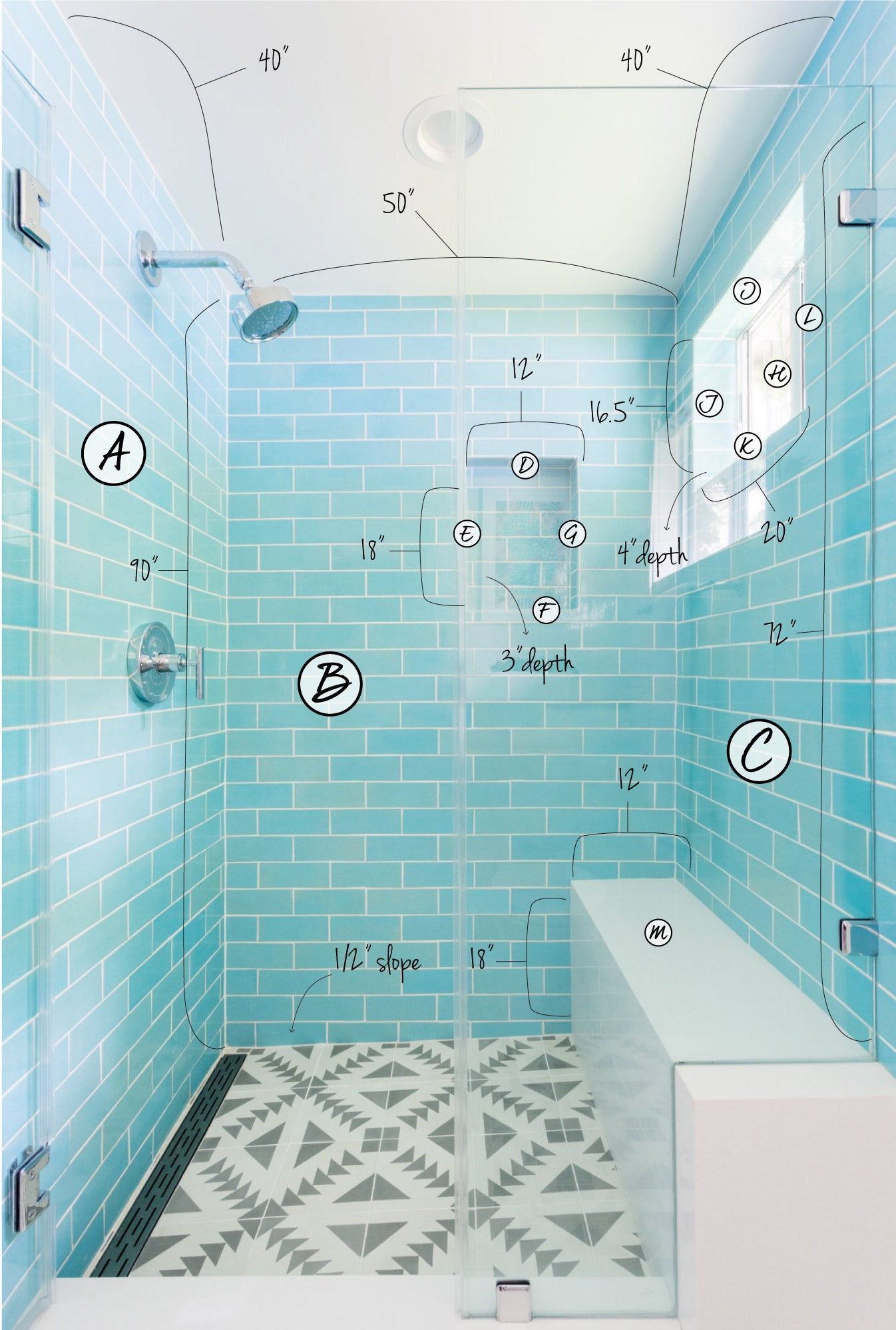 3x8 Subway Tile 12W Blue Bell Shower