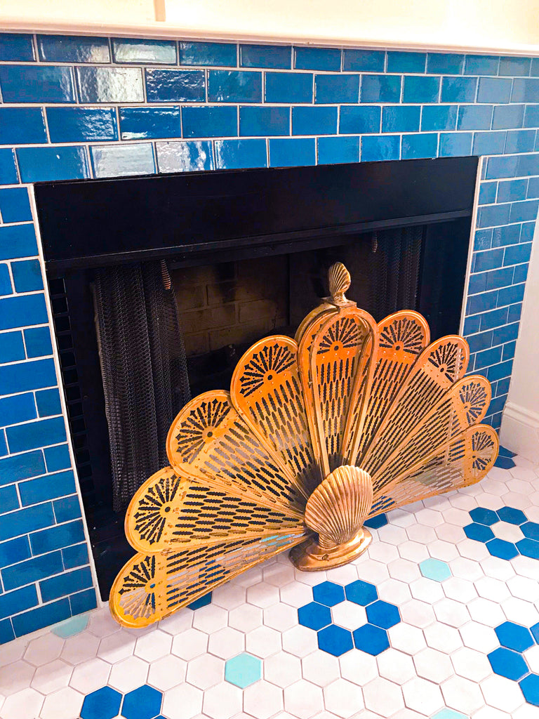 blue fireplace tile