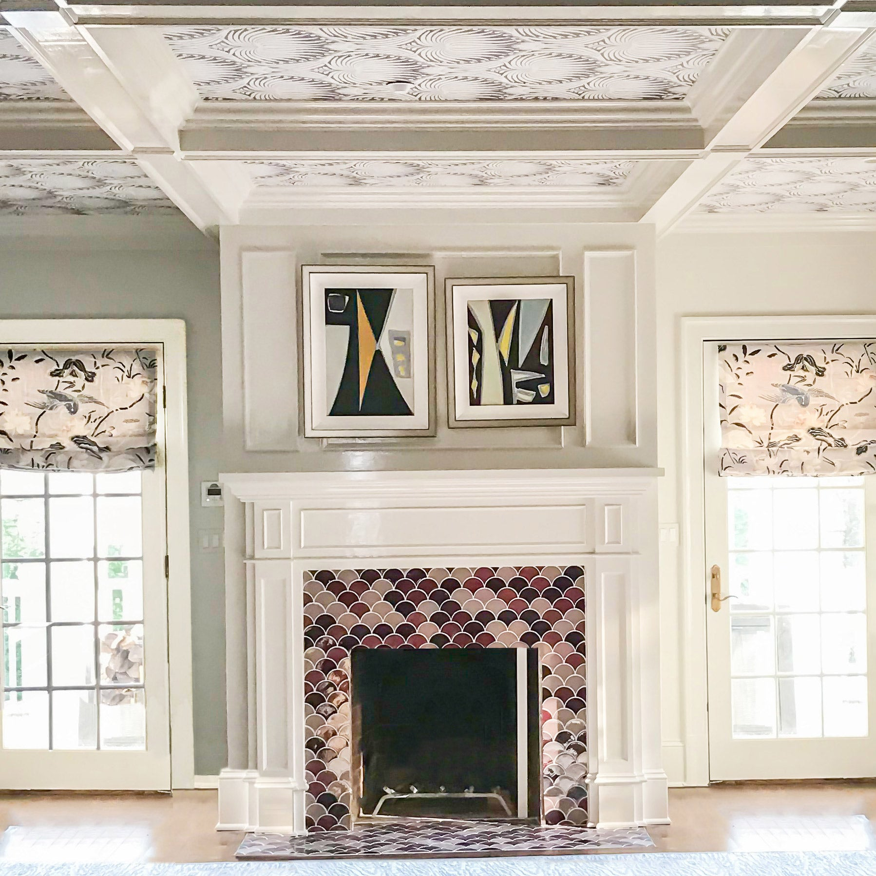 Art Deco Glamily Room Moroccan Tile Fireplace