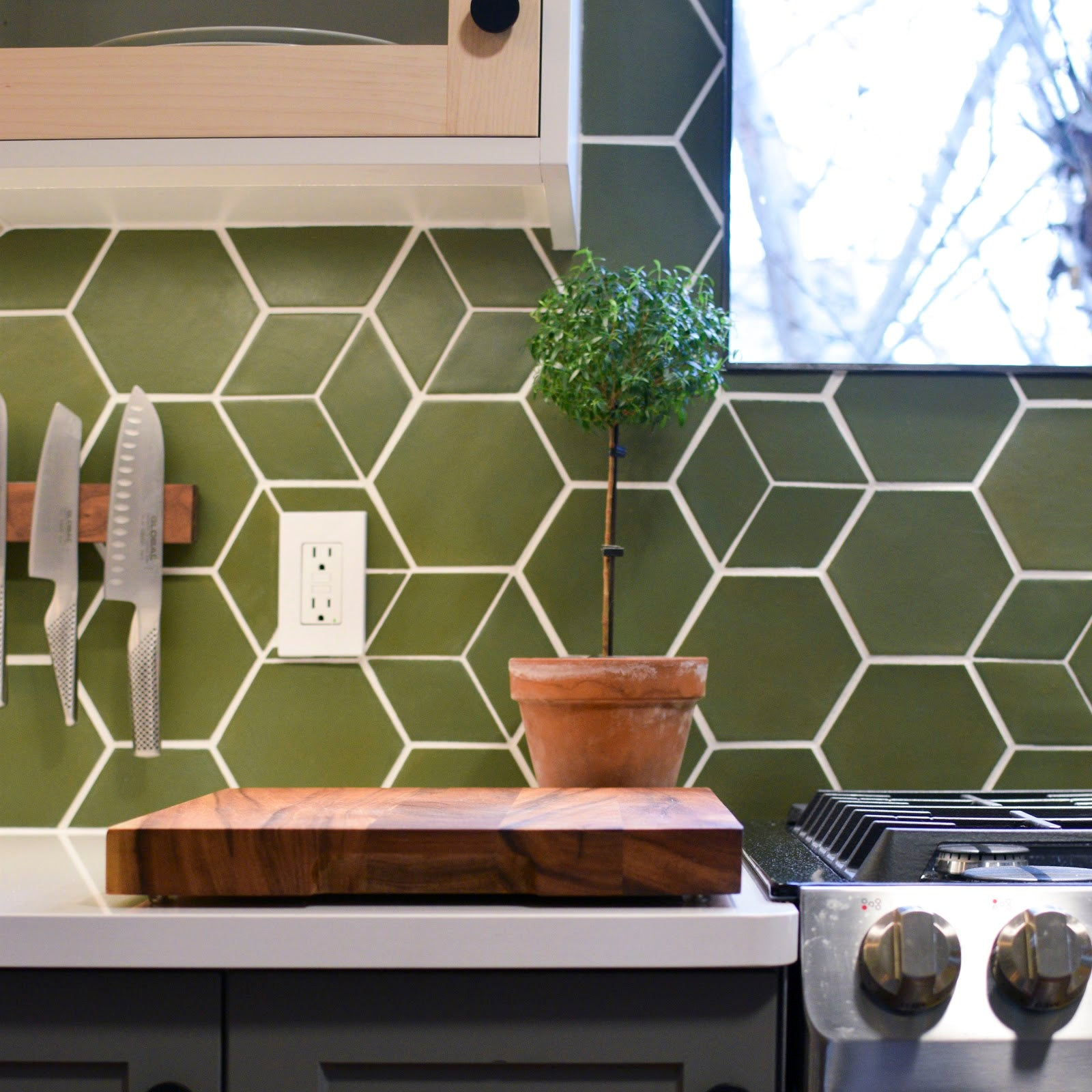 Avocado Green Kitchen Backsplash Mixed and Matched Tile