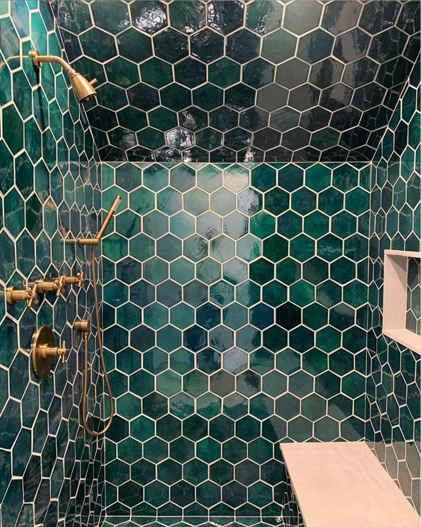 Bathroom Shower Teal Ceramic Tile