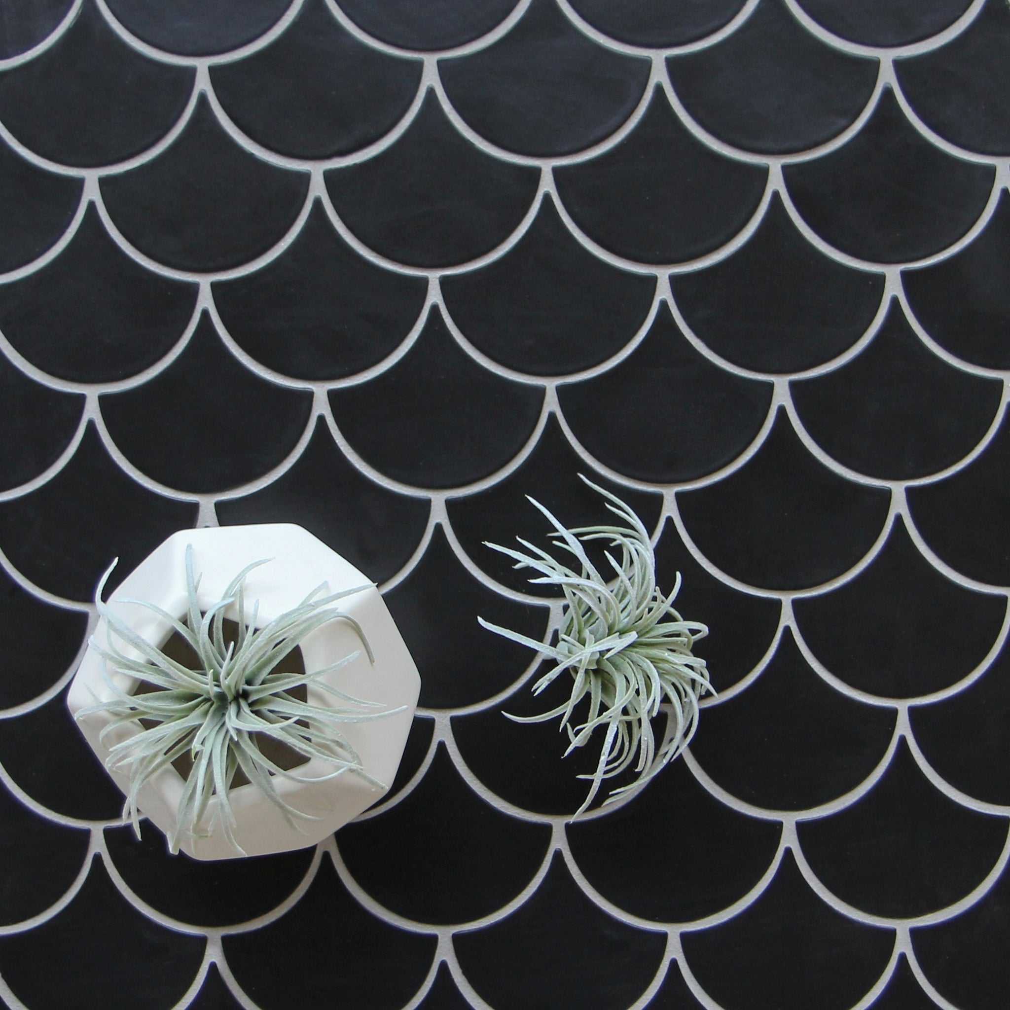 Black Moroccan Fish Scale White Grout