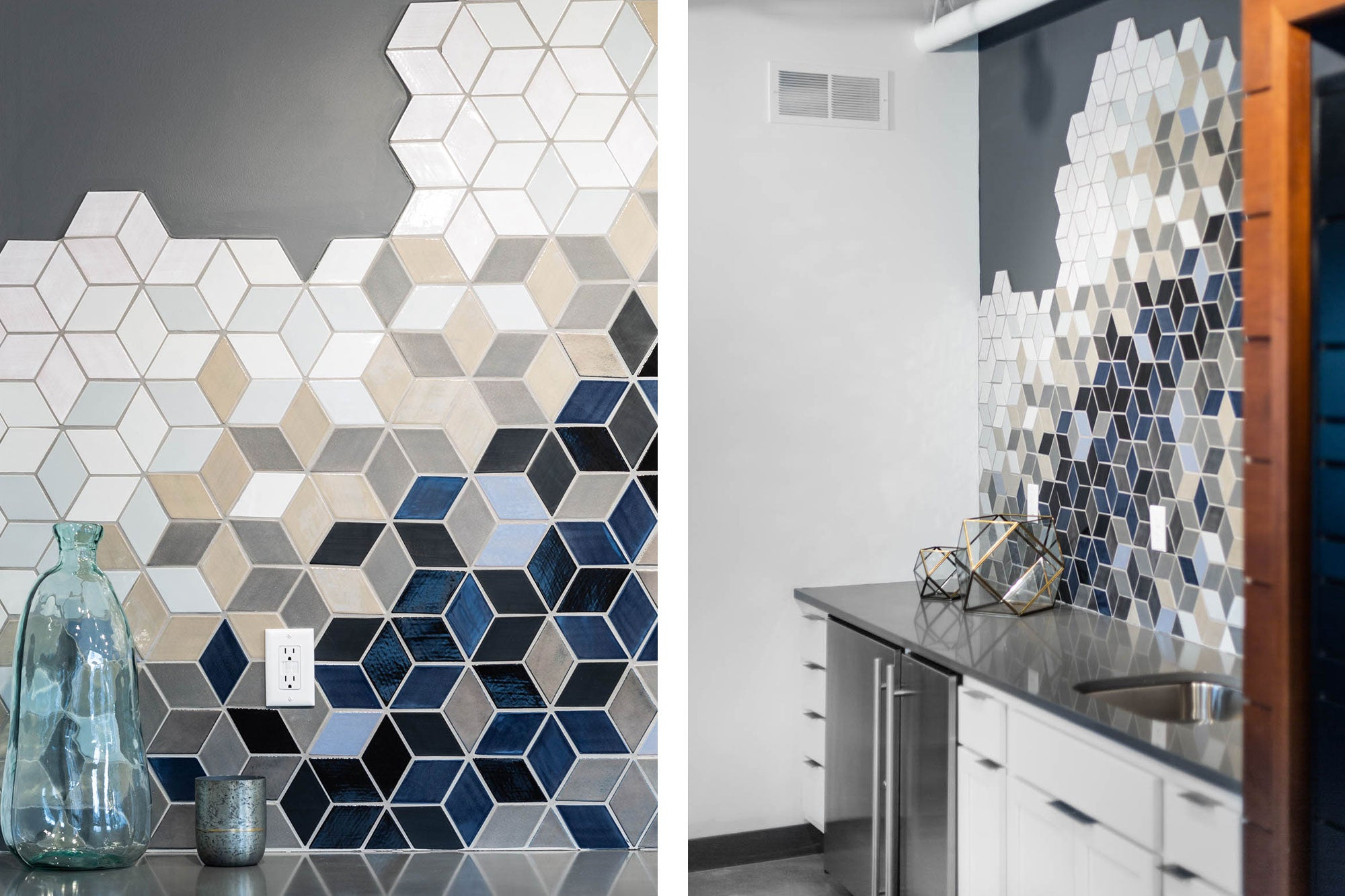 Blue Diamond Ceramic Kitchen Backsplash