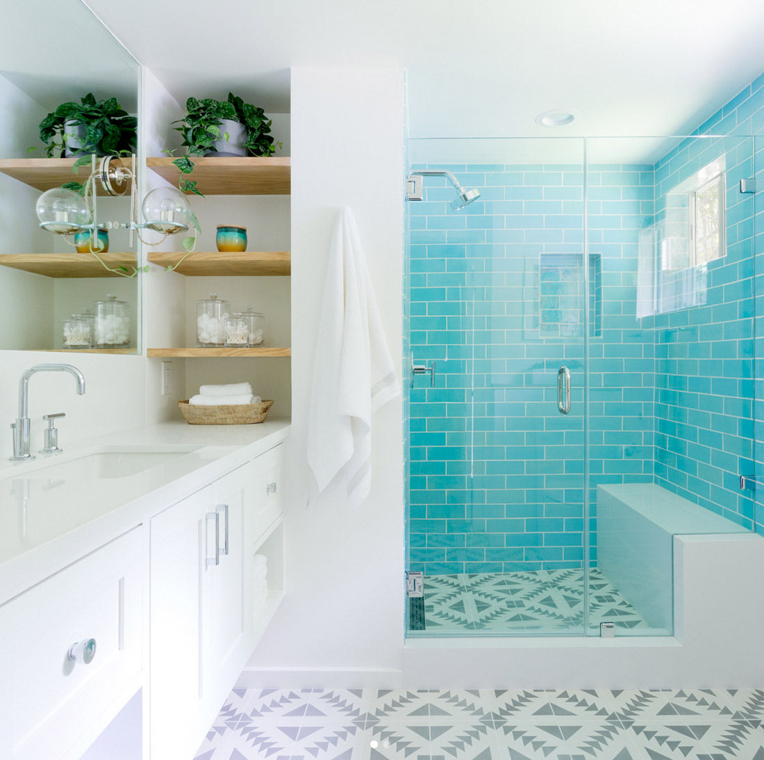 Blue Subway Tile with Open Shelving