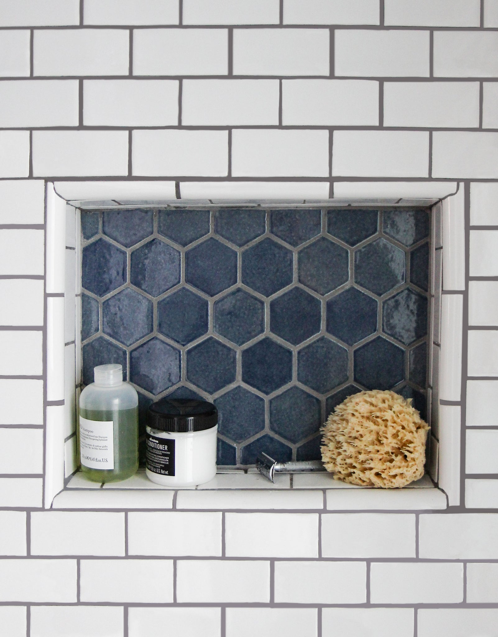 Blue Hexagon Tile Shower Niche