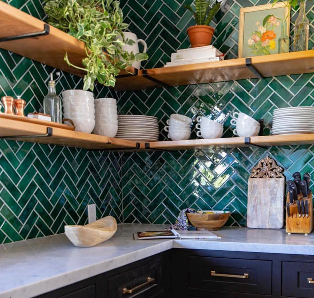 bohemian kitchen herringbone tile