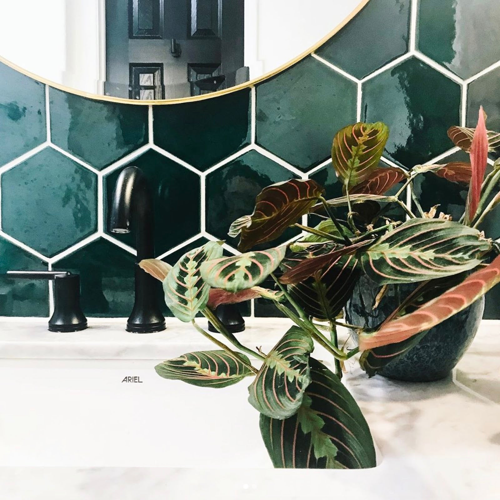 Boho Green Hex Bathroom Tile