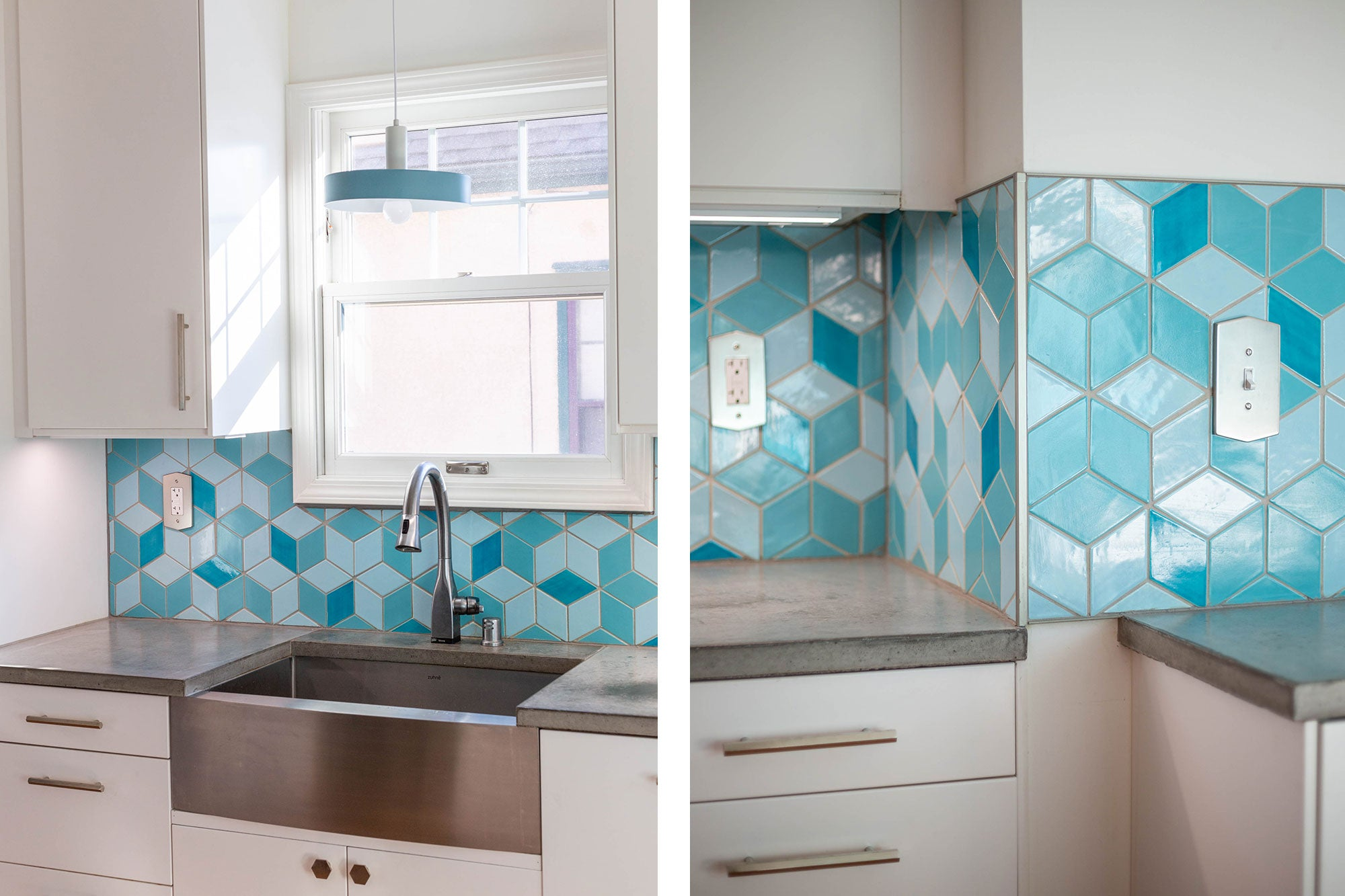 Bright Blue Ceramic Tile Backsplash