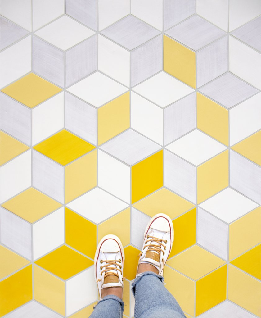 Bright Yellow Ombre Floor Tile