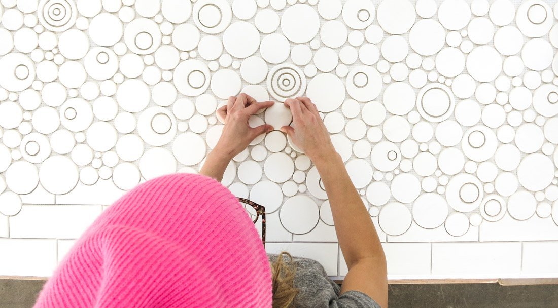 Bubble and Subway Tile White Backsplash