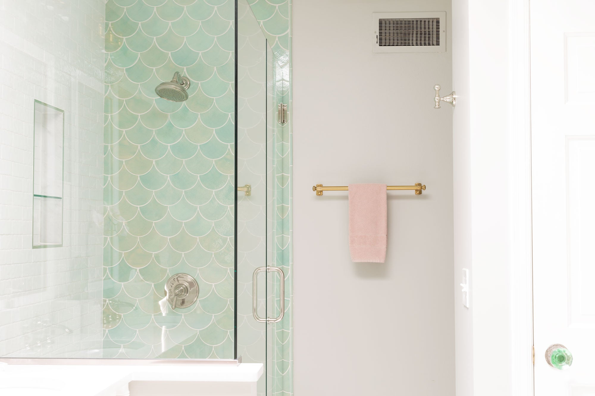 Coastal Green and Pink Bathroom