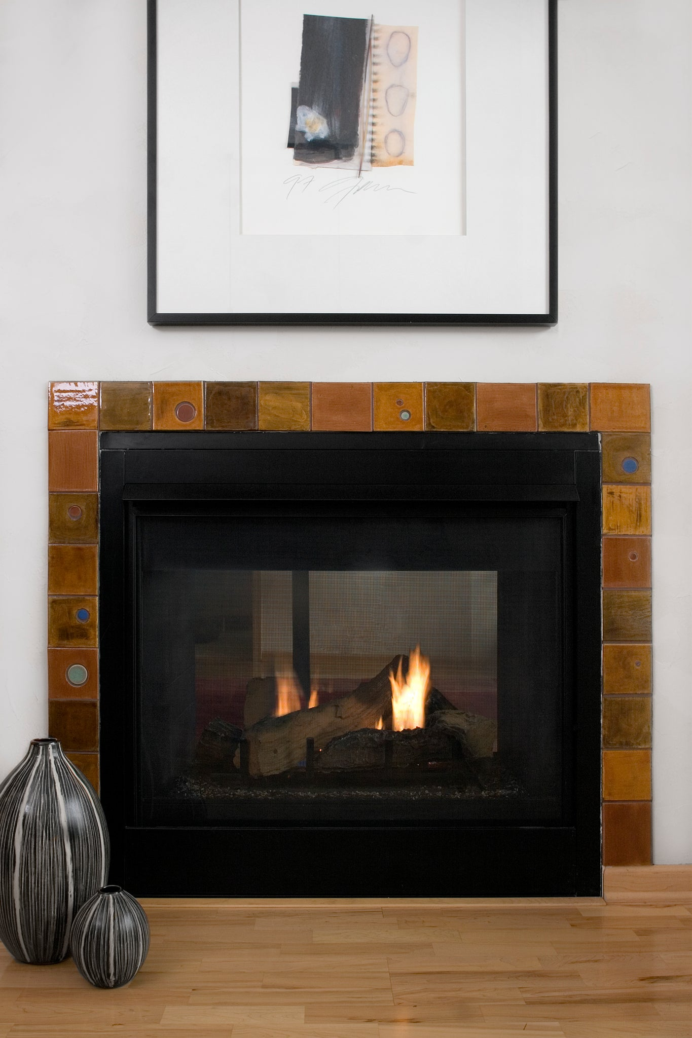 Craftsman Orange Fireplace Tile