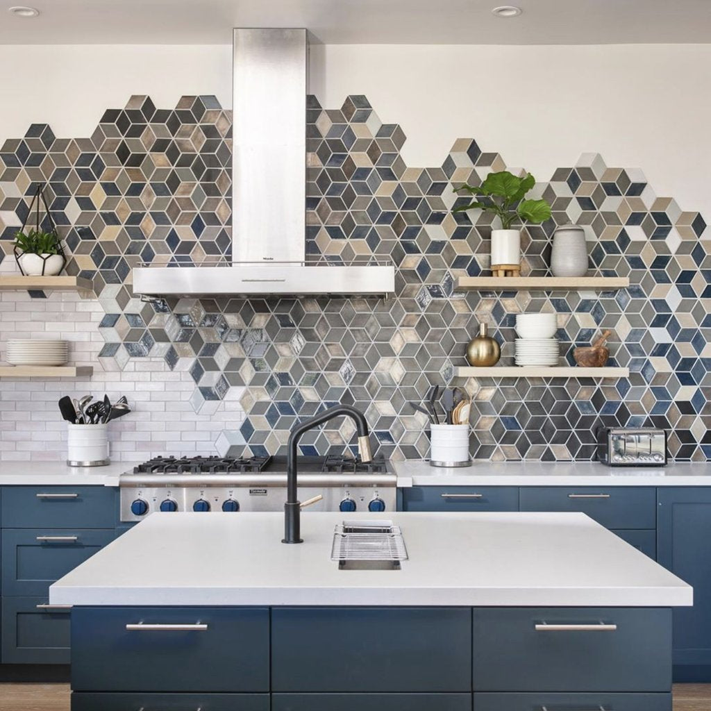 Custom Modern Diamond Tile Backsplash