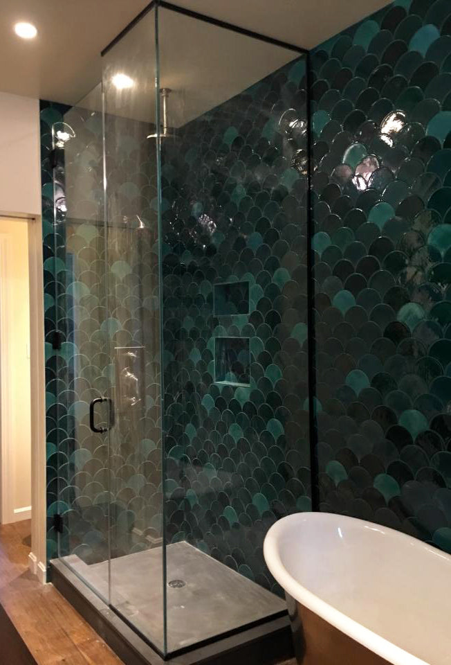 Deep Green Moroccan Fish Scale Shower – Mercury Mosaics