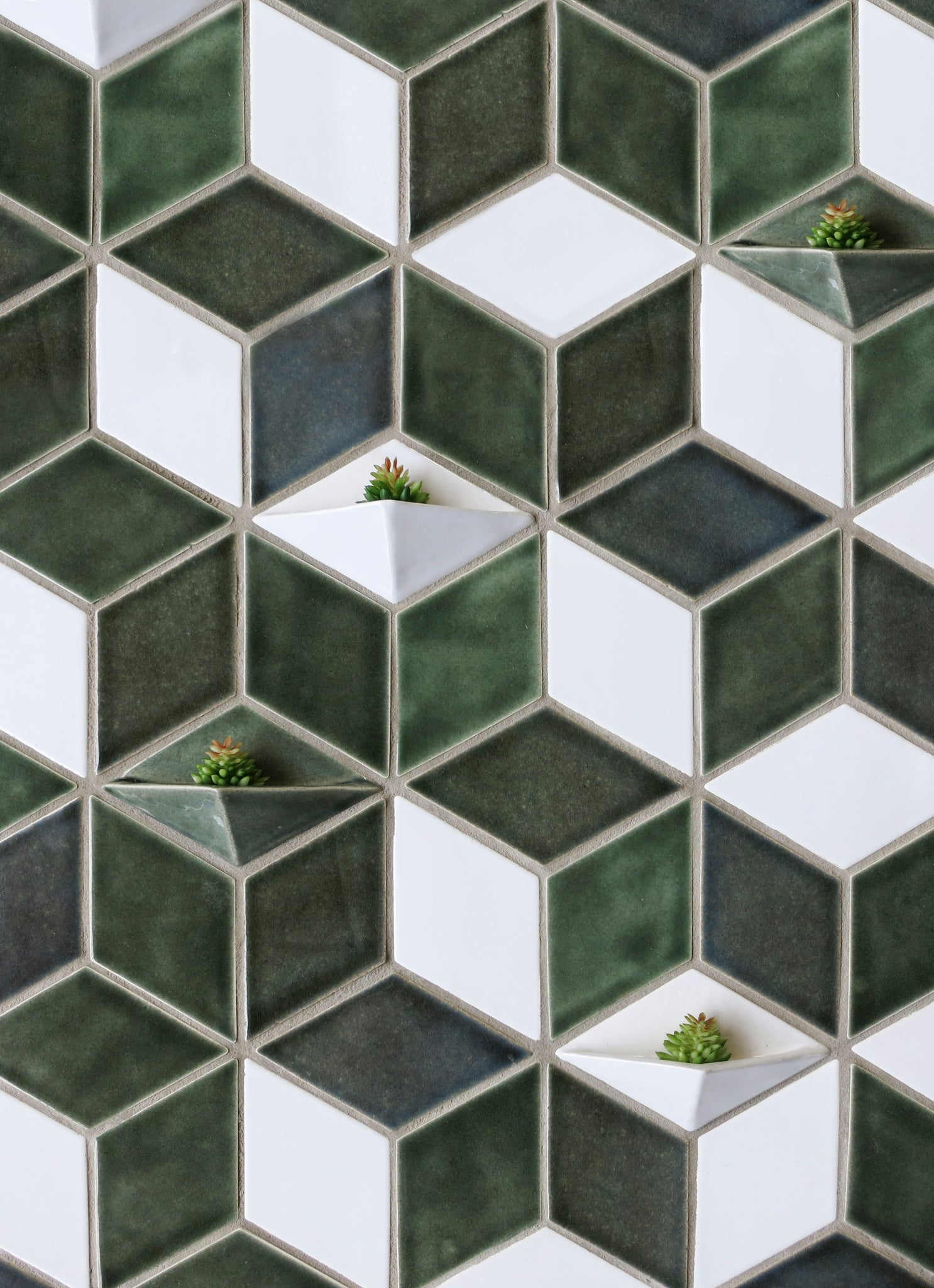 Diamond Tiles with Plant Holders