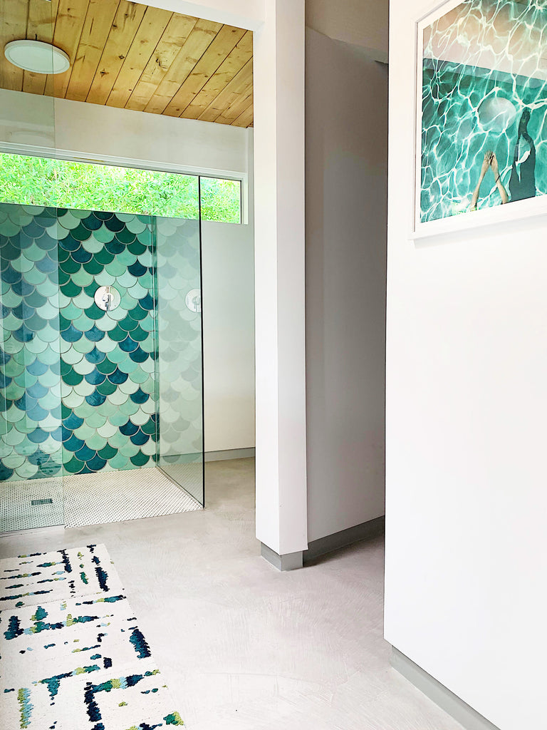 blue green fish scale shower tile